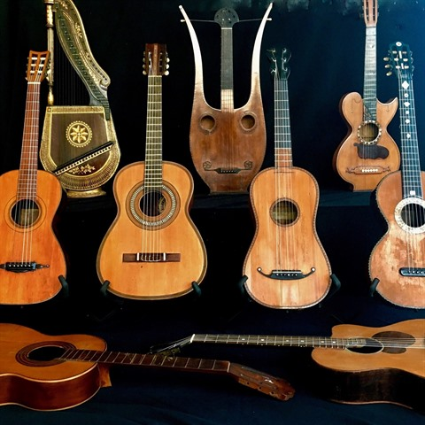 Richard Watkins, Romantic guitar display, Holy Grail Guitars collection